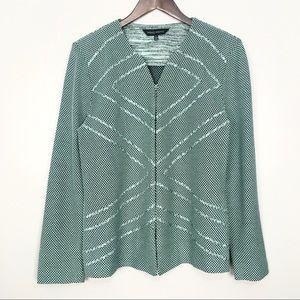 Ming Wang Textured Zip Jacket Knit Woven V Neck